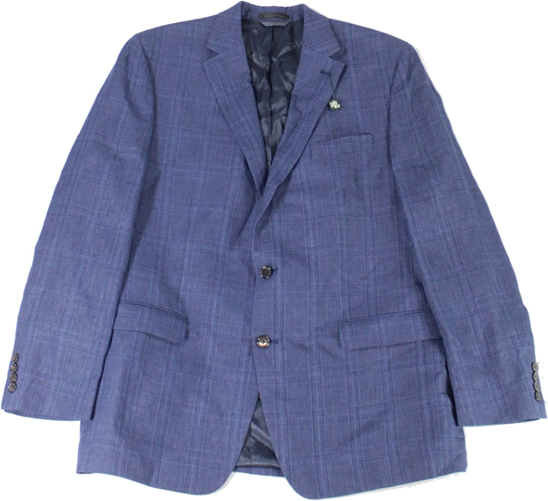 Lauren by Ralph Lauren Mens Sport Coat R Plaid Two Button Blue 48