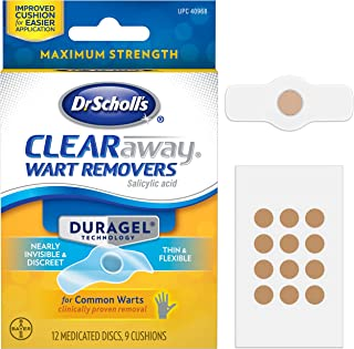 Dr. Scholl's ClearAway Wart Remover with Duragel Technology, 9ct // Clinically Proven Wart Removal of Common Warts with Discreet Thin and Flexible Cushions, Optimal for Fingers and Toes
