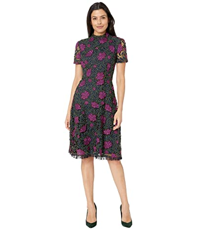 Tahari by ASL Lace Fit and Flare Dress (Navy/Fuchsia/Olive) Women