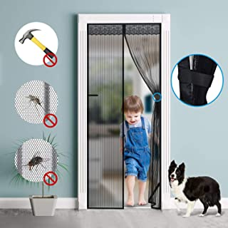 Magnetic Screen Door,Durable Polyester Mesh with Super Tight Self Closing Magnetic Seal,Full Frame Hook&Loop Fits Door Openings up to 36