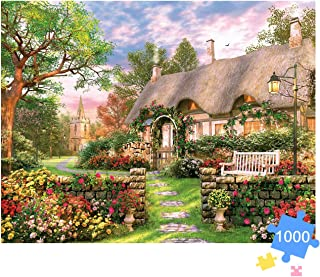 """Jigsaw Puzzle 1000 piece for Adult, Aqziill 1000-piece puzzle-England Hut in Spring Landscape with flower-large size 27.56"""" x 19.66"""", Thicken Cardboard Medium Difficulty for Gift, Toy Game, Decoration"""