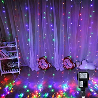 Hezbjiti 300 LED Curtain Lights, 3m x 3m Bedroom Curtain String Lights Mains Powered 8 Modes Waterproof Window Fairy Lights for Indoor Outdoor Christmas Wedding Party Gazebo Garden Decorations