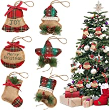 BigOtters Christmas Tree Ornaments Stocking Decoration 6PCS Christmas Burlap Stocking Ball Tree Bell with Pinecones for Xmas Tree Hanging Holiday Party Decor