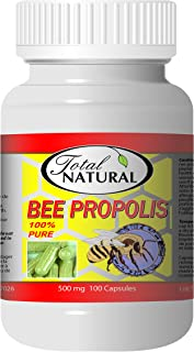 Bee Propolis 500mg 100 Count Capsules [1 Bottle] by Total Natural, Anti-Inflammatory, Battling Free Radicals, Safe and Natural Antioxidant Health Supplement, GMP Premium Ingredients