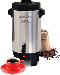 West Bend 58002 Highly Polished Aluminum Commercial Coffee Urn Features Automatic Temperature Control Large Capacity with Quick Brewing Easy Prep and Clean Up, 42-Cup, Silver