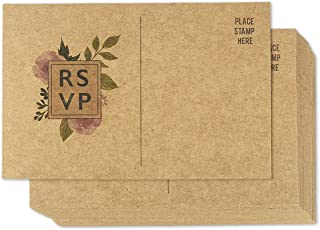 50 Pack RSVP Postcards, Kraft Blank Response Card, Wedding Return Cards - RSVP Reply for Parties and Receptions - Self Mailer Mailing Side Postcards 50 Cards Per Pack Postage Saver - 4 x 6 Inches