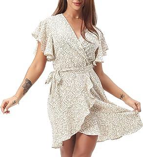 Women's Summer Casual Dress Short Sleeve Print Swing Dress