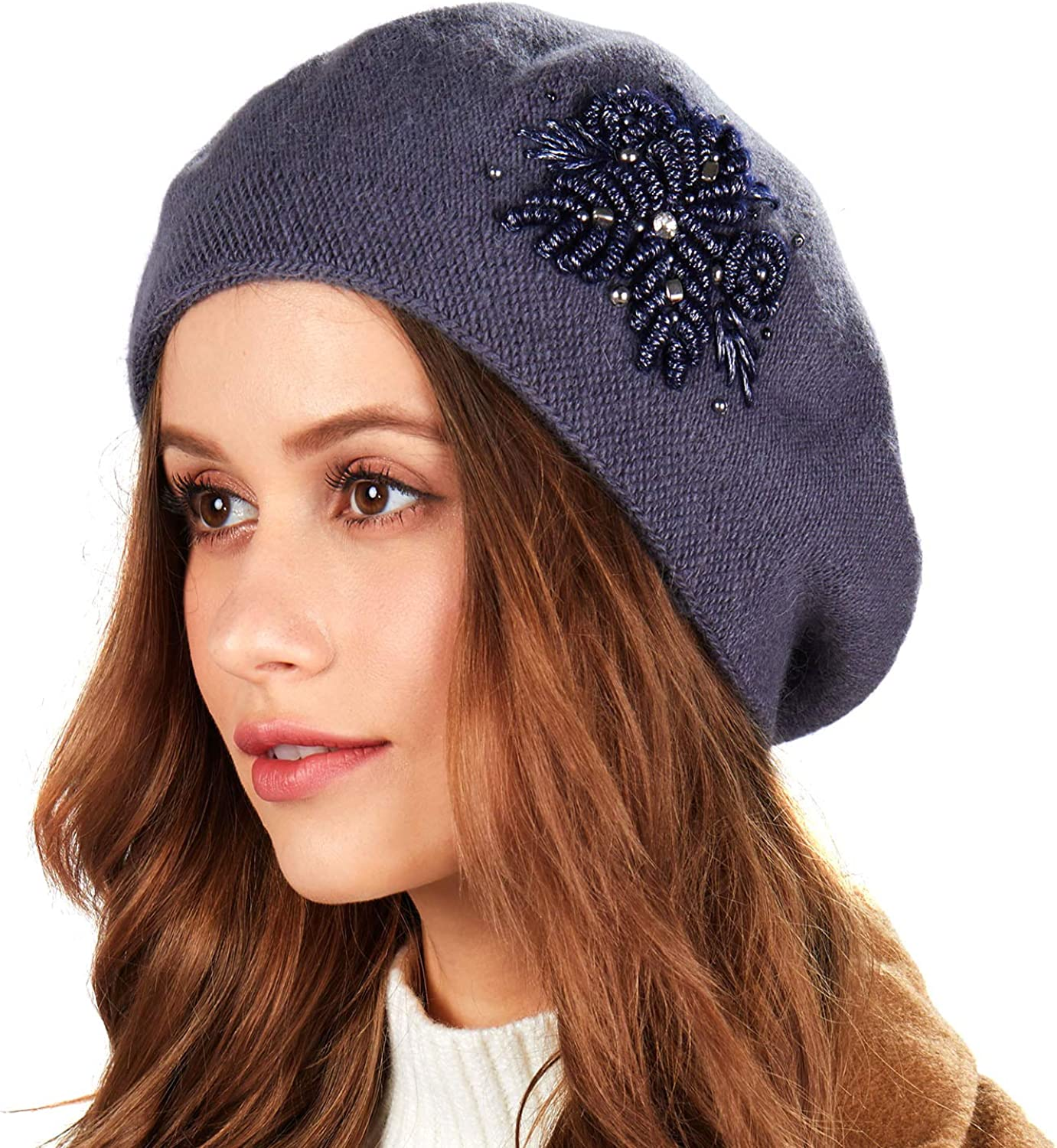 Beret Hat for Women Winter Embroidered French Style Beret Beanie Cap Rabbit Fur Blend Yarn Artist Hat