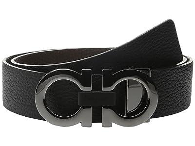 Salvatore Ferragamo Reversible/Adjustable Belt 678783 (Nero/Hickory) Men