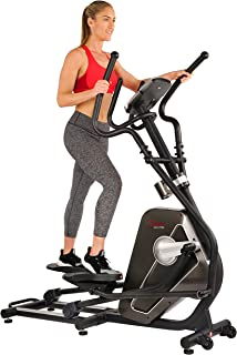 Sunny Health & Fitness Magnetic Elliptical Trainer Machine w/Device Holder, LCD Monitor, 265 LB Max Weight and Pulse Monitoring - Circuit Zone, Black (SF-E3862)