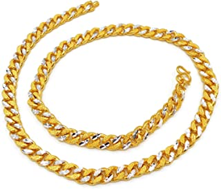Men's Band Chain 22k 23k 24k Thai Baht Gold GP Necklace 26 Inch 10 mm Jewelry
