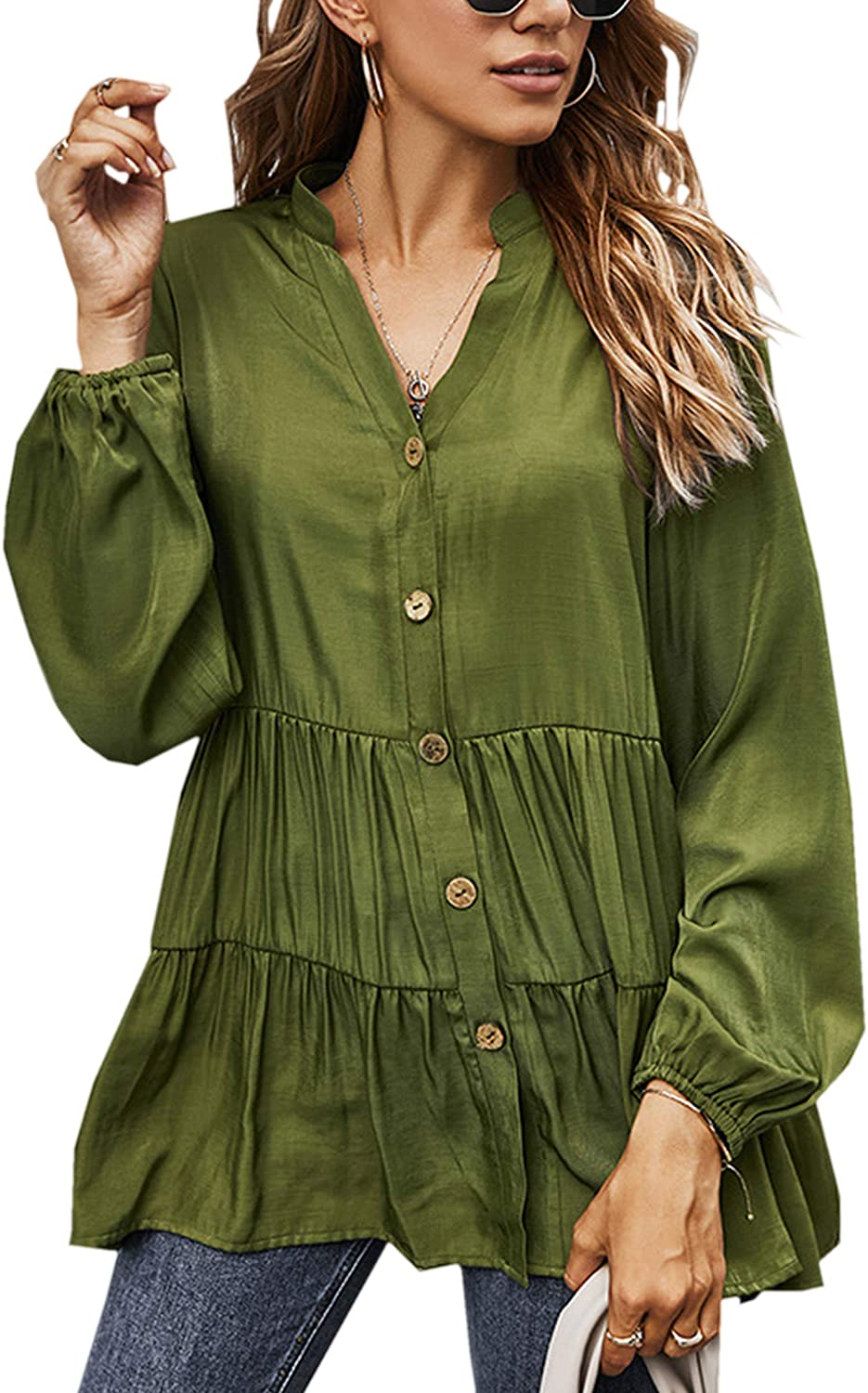 Angashion Women Tunic Tops Casual Solid Long Sleeve Ruffle V Neck Button Down Loose Babydoll Shirt Blouse
