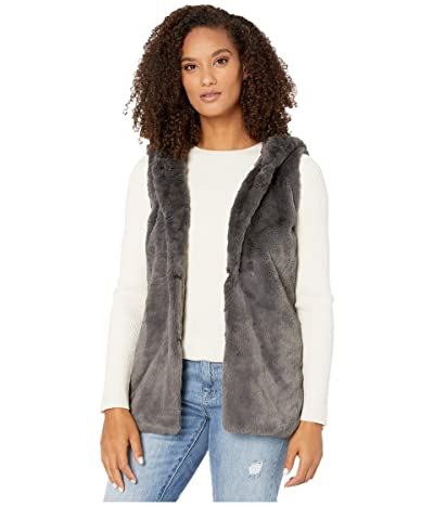 Dylan by True Grit Ultra Lux and Plush Shearling Faux Fur Hood Vest (Vintage Black) Women