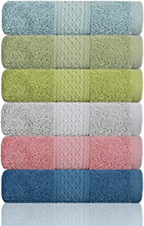 "Cleanbear Hand Towel Face Towel Set,100% Cotton, Assorted Colors Hand Towels, Size 29""x13"", 6-Pack 6 Colors"