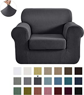 CHUN YI Stretch Chair Sofa Slipcover 2-Piece Couch Cover Furniture Protector, 1 Seater Coat Soft with Elastic Bottom, Checks Spandex Jacquard Fabric, Small, Gray