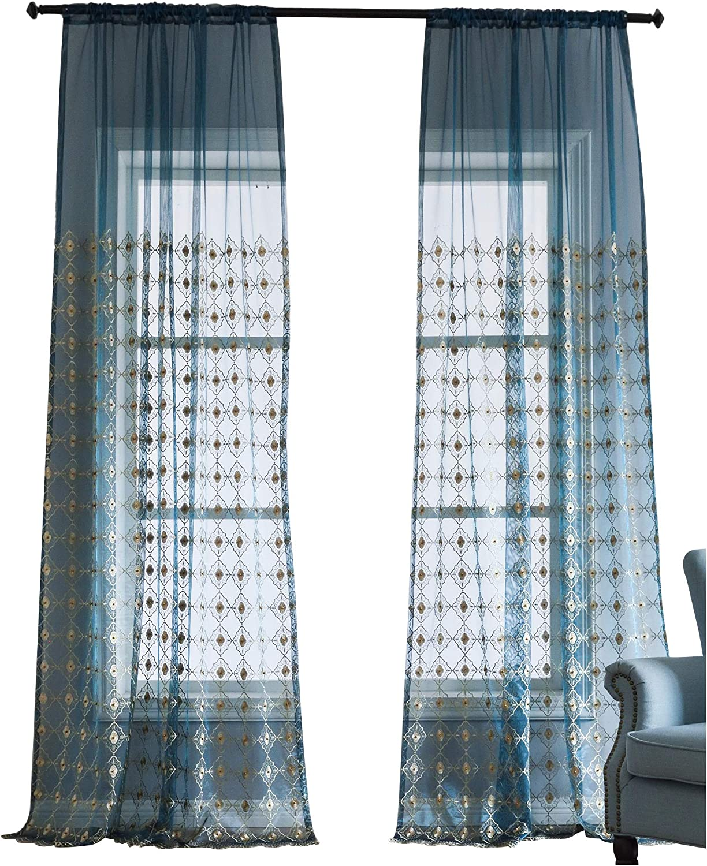 descuento de ventas en línea BW0057 Europern Style Classic Pattern Pattern Pattern 1300420C3BYABU15063-8511 - Cortinas con Cuentas Bordadas para Ventana (1 Panel, 50 x 63 Pulgadas), Color Azul  apresurado a ver