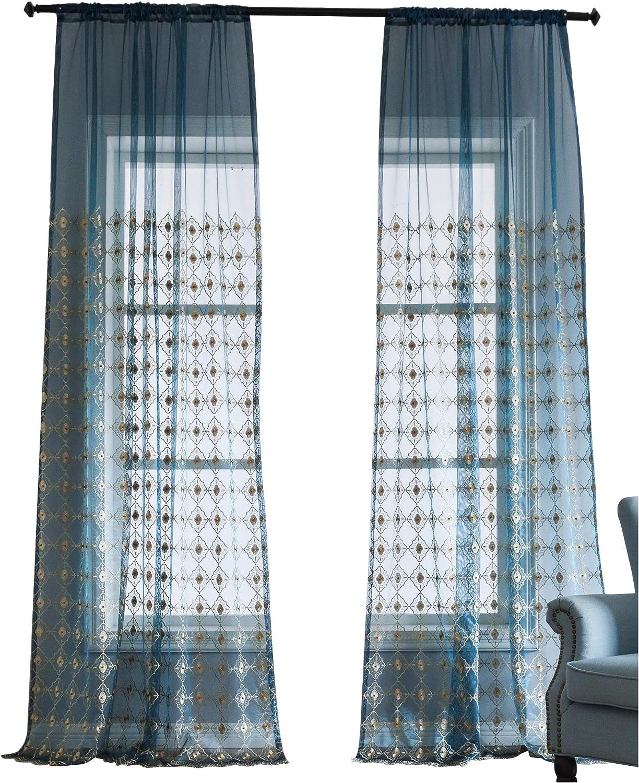 100% autentico BW0057 Europern Style Classic Pattern Pattern Pattern 1300420C3BYABU15063-8511 - Cortinas con Cuentas Bordadas para Ventana (1 Panel, 50 x 63 Pulgadas), Color Azul  alto descuento