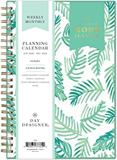 """Day Designer for Blue Sky 2022 Weekly & Monthly Planner, 5"""" x 8"""", Frosted Flexible Cover, Wirebound, Palms (137362)"""