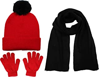 S.W.A.K Kids Girls Knit Pompom Beanie Hat Scarf and...