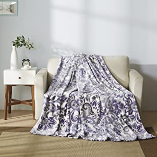 All American Collection New Super Soft Printed Throw Blanket (Queen Size, White/ Lavander)