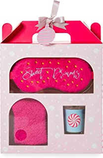 Winter Holiday at-Home Spa Gift Set with Super Soft Comfy Sleep Mask, Ultra-Plush Fuzzy Socks, and Peppermint Swirl Scented Glass Votive Candle by Tri-Coastal Design