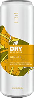 DRY Sparkling Ginger Soda 12 Oz Cans, 12Count - Lightly Sweetened with Cane Sugar, Caffeine-Free, Non-Gmo