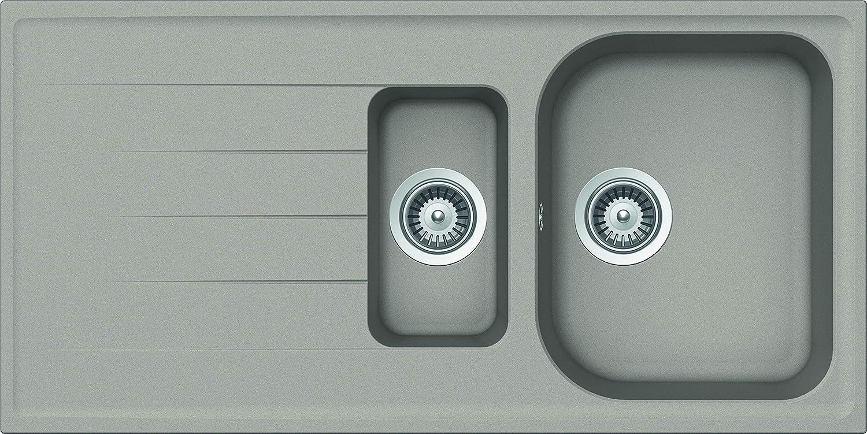 Schock Lithos D150A42N Cristalite Plus - Fregadero de 1 seno y escurridor (100 x 50 x 20 cm), color gris