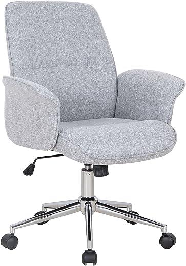 SixBros. Bürostuhl, Schreibtischstuhl mit Armlehne und niedriger Rückenlehne, Drehstuhl stufenlos höhenverstellbar, Sitzbezug aus Stoff, grau…
