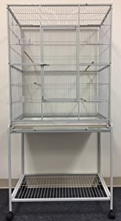 Mcage Large Wrought Iron Flight Breeding Canary Parakeet Cockatiel Lovebird Finch Bird Cage with Removable Stand, 32-Inch by 19-Inch by 64-Inch
