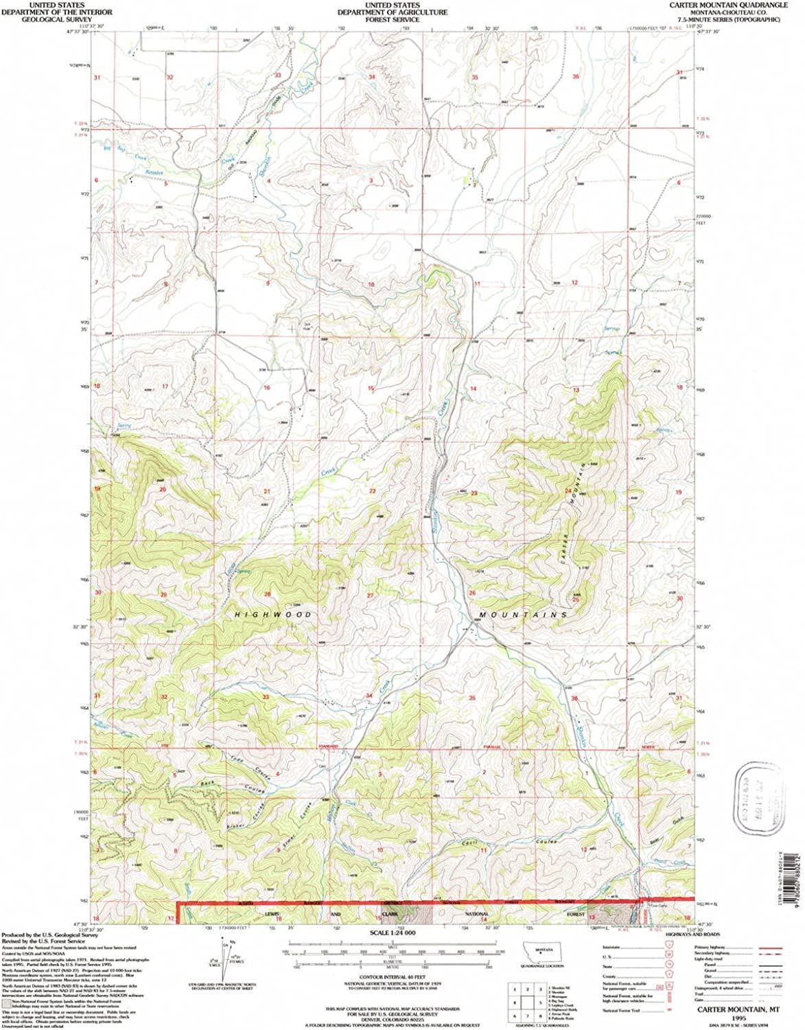 Carter Mountain MT topo map, 1 24000 Scale, 7.5 X 7.5 Minute, Historical, 1995, Updated 1997, 27 x 22.1 in