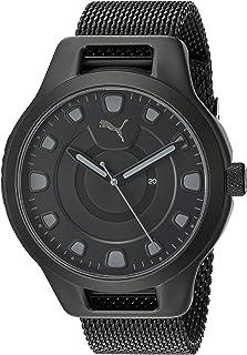 PUMA Men's Reset V1 Quartz Watch with Stainless Steel Mesh Strap, Black, 20.1 (Model: P5007)