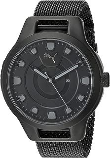 Men's Reset V1 Quartz Watch with Stainless Steel Mesh Strap, Black, 20.1 (Model: P5007)