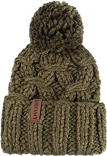 VAMEI Women Winter Pom Pom Beanie 100% Handmade Thick Cable Knit Hat Warm Snow Ski Skull Cap Cuff Beanie for Ladies