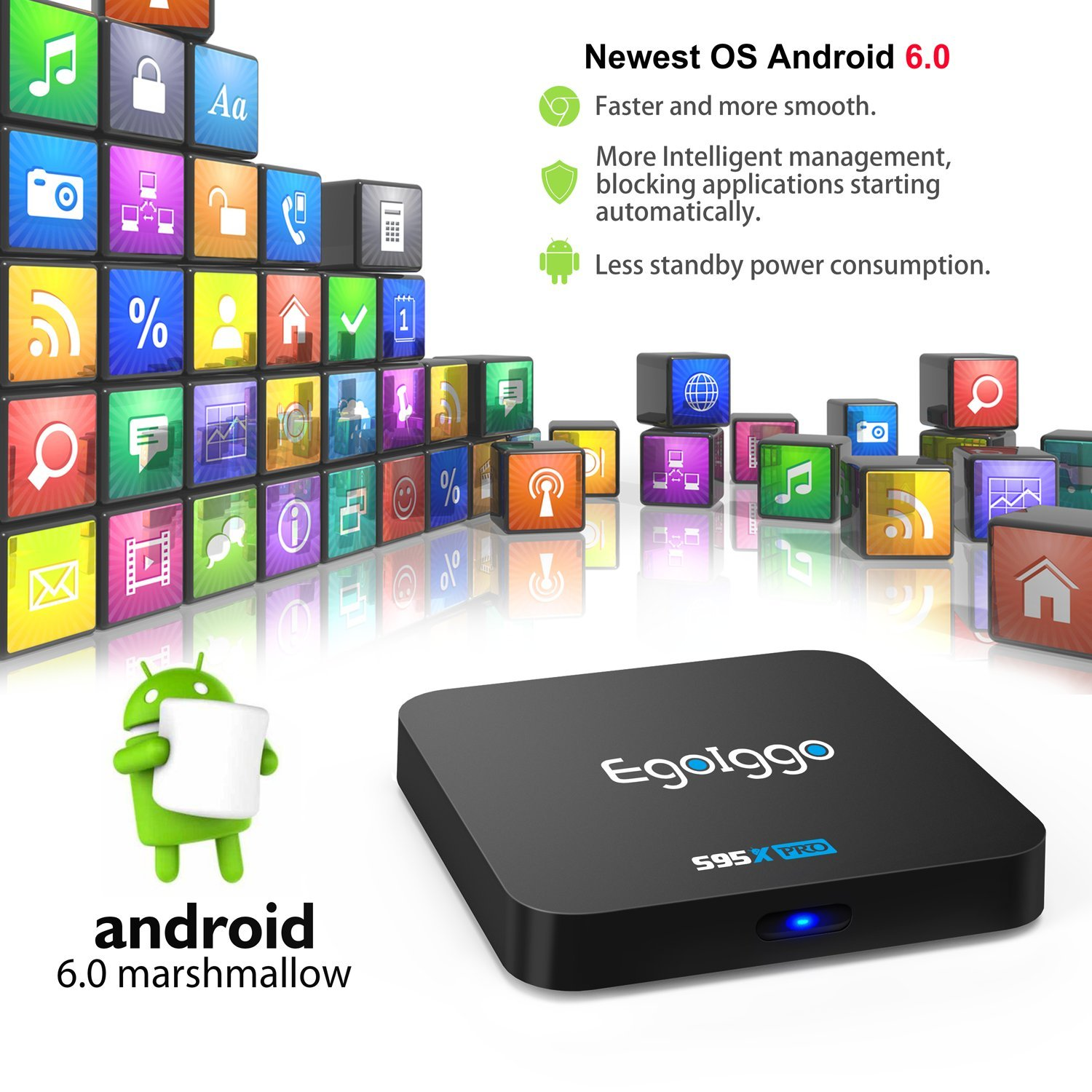 EgoIggo S95X Pro Android TV Box Android 6.0 2GB RAM + 16GB ROM 2.4G WiFi 4K 2K H.265 por Hardware HDMI Smart TV Box: Amazon.es: Electrónica