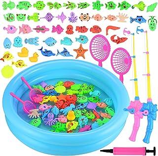 GOLDGE Juego de Pesca para Baño para Niños, Juego de Pesca con Caña Flotando Peces 46 Peces Flotantes y 2 Barras Juguete E...