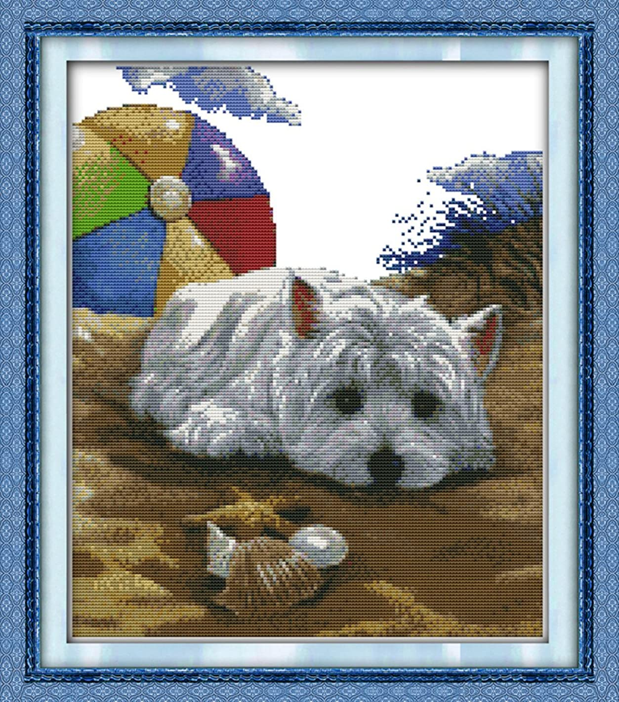 CaptainCrafts New DIY Art Stamped Cross Stitch Kit Pre-Printed Pattern Counted Embroidery Kits - Dog Missing (WHITE)