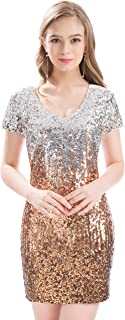 MANER Women's Sequin Glitter Short Sleeve Dress Sexy V Neck Mini Party Club Bodycon Dresses