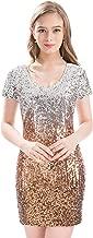 MANER Women's Sequin Glitter Short Sleeve Dress Sexy V Neck Mini Party Club Bodycon Dresses