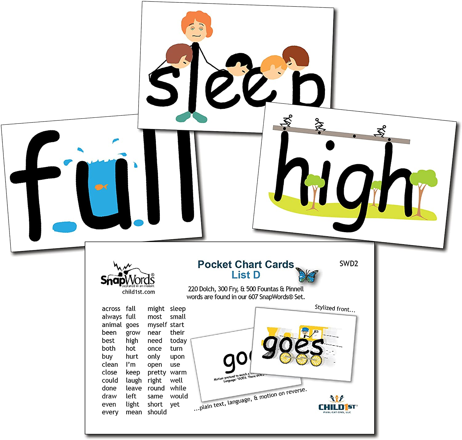 SnapWords List D Pocket Chart Cards - Sight Words
