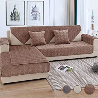 OstepDecor Couch Cover, Sofa Cover, Quilted Sectional Couch Covers, Velvet Sofa Slipcover for Dogs Cats Pet Love Seat Recliner Leather L Shaped, Armrest Backrest Cover, Brown 36 x 70 Inches