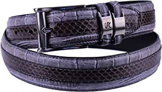 6-027 Snake Skin with Leather Embossed Croco and Lizard Mens Leather Belt, Nickel Brushed Buckle