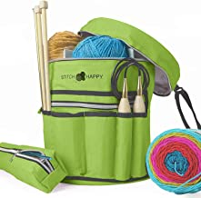Stitch Happy Knitting Bag (Green): 7 Pocket Yarn Bag, Crochet Bag for Yarn Storage, Crochet Storage