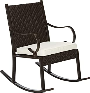 Christopher Knight Home 304344 Muriel Outdoor Wicker Rocking Chair with Cushion, Dark Brown and Cream