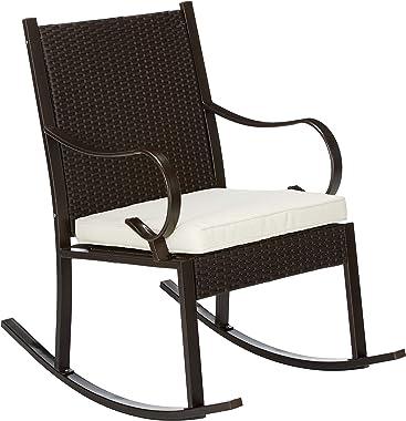 Christopher Knight Home 304344 Muriel Outdoor Wicker Rocking Chair, Dark Brown/Cream Cushion