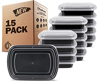Freshware Meal Prep Containers [15 Pack] 1 Compartment with Lids, Food Storage Bento Box | BPA Free | Stackable | Lunch Boxes, Microwave/Dishwasher/Freezer Safe, Portion Control, 21 day fix (28 oz)