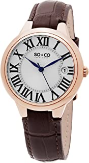 So & Co New York Madison Women's Quartz Watch With Silver Dial Analogue Display and Brown Leather Strap 5052L.2