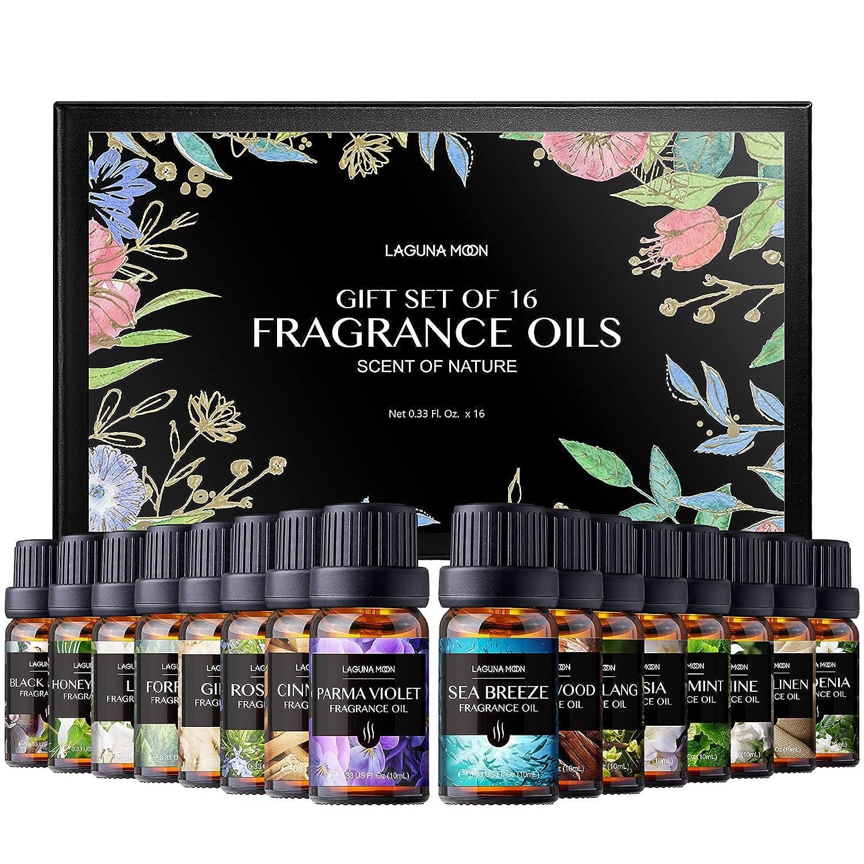 Lagunamoon Fragrance Oils Gift Set, Top 16 Premium Grade Fragrance Oils for Candle Making, Soap Making, Diffuser, Perfume, Bath - 10ml/Bottle