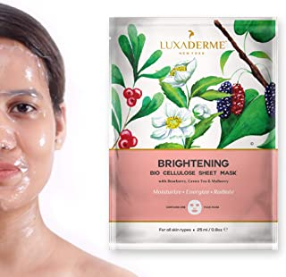 LuxaDerme Brightening Bio Cellulose Face Sheet Mask with Bearberry, Green Tea and Mulberry, 25ml