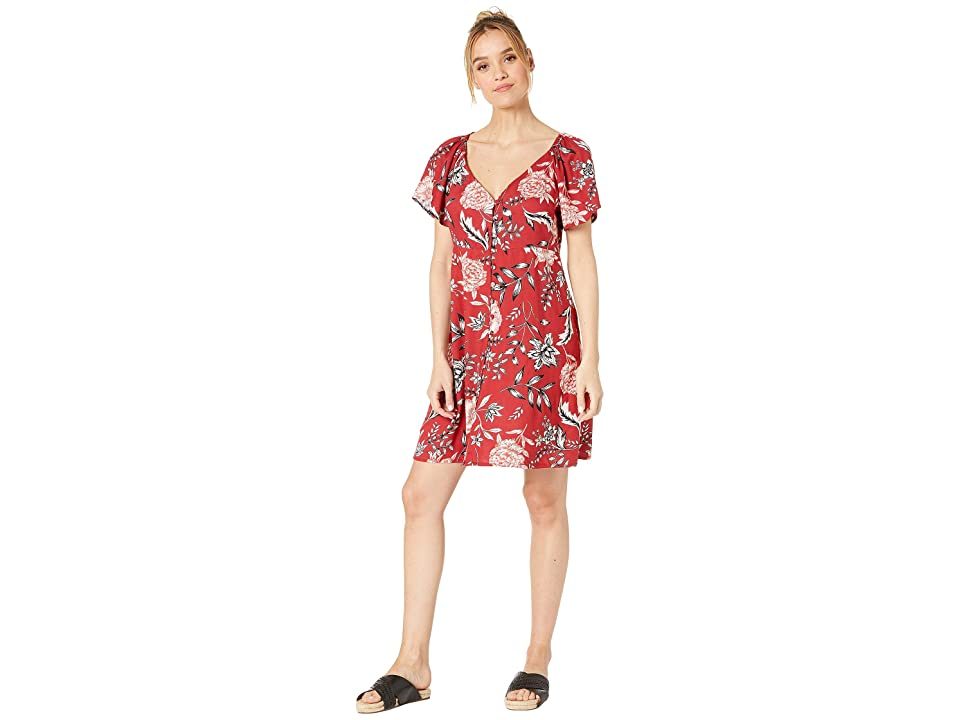 Angie V-Neck Covered Button Front Dress (Red) Women