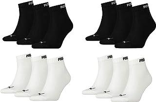 Puma, Calcetines Quaters, 12 pares, 4 paquetes de 35-38, 2 blancos y 2 , ventilación perfecta y un corte cómodo.